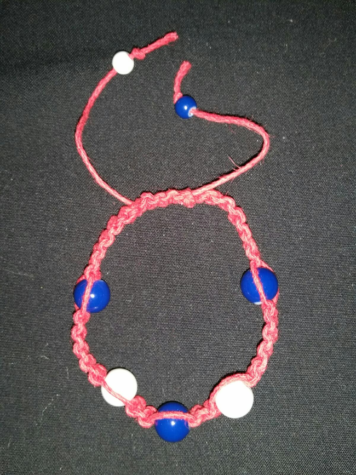 Red White and Blue Hemp Bracelet with Beads