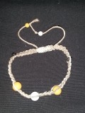 Tan Hemp with Metallic, Yellow and Orange Ceramic Beads