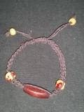 Brown Hemp Bracelet with Tan-Red and Brown Beads - Dark