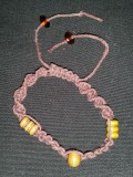 Brown Hemp Bracelet with Tan Beads