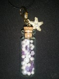 Amethyst Bottle Ocean Pendant with White Beads