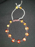 Brown Hemp with Yellow-Red Beads